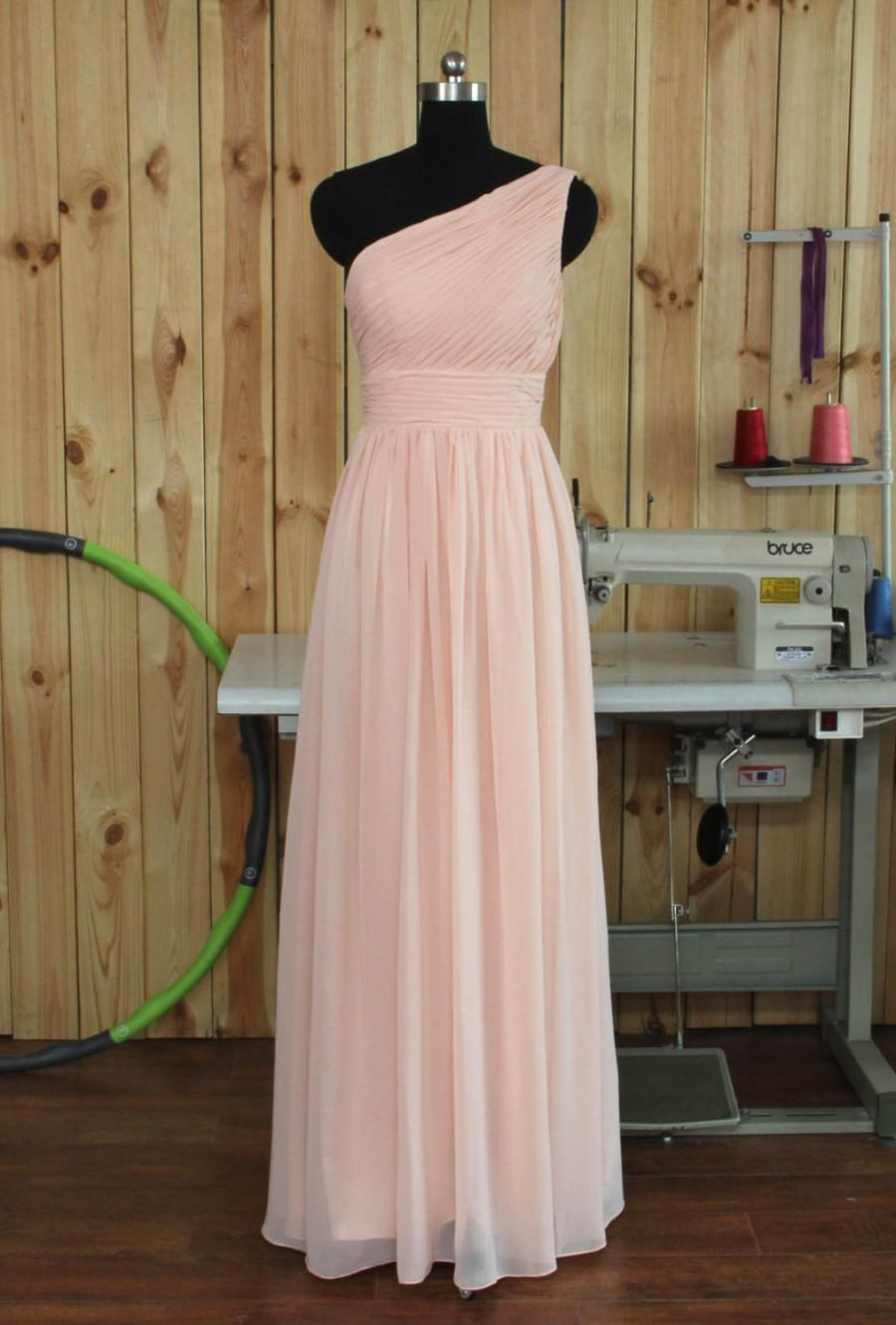 Wedding - 2015 Custom Made Long Chiffon Bridesmaid Dress, One Shoulder Chiffon Bridesmaid Dress, Maid of Honor Dress, Wedding Party Dress, Prom Dress