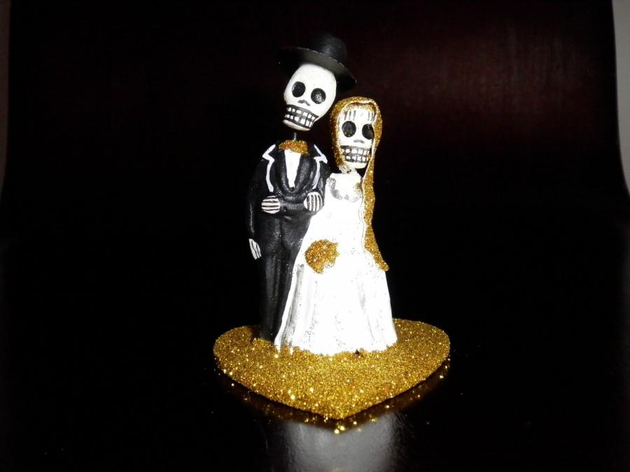 Wedding - Yellow Gold Dia De Los Muertos Cake Topper