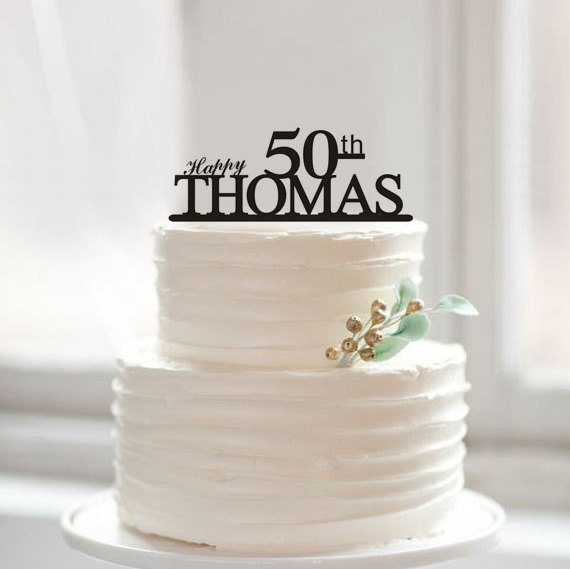 Ideas For Birthday Cake Toppers : Happy 50th Birthday Cake Topper,50th Anniversary Cake ...