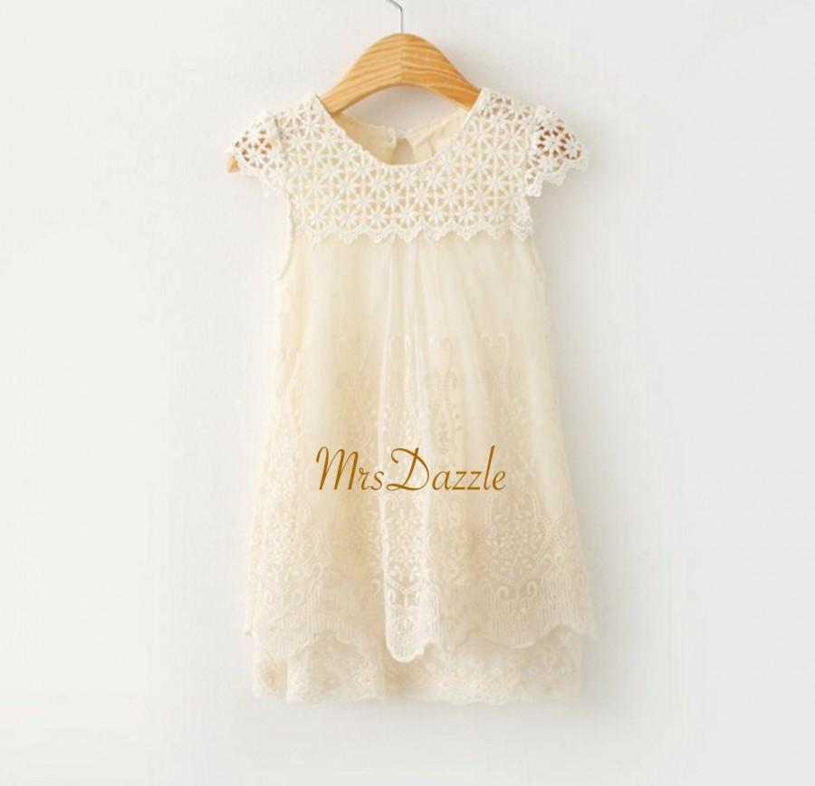 2ee21b83617 Girls Ivory Lace Dress