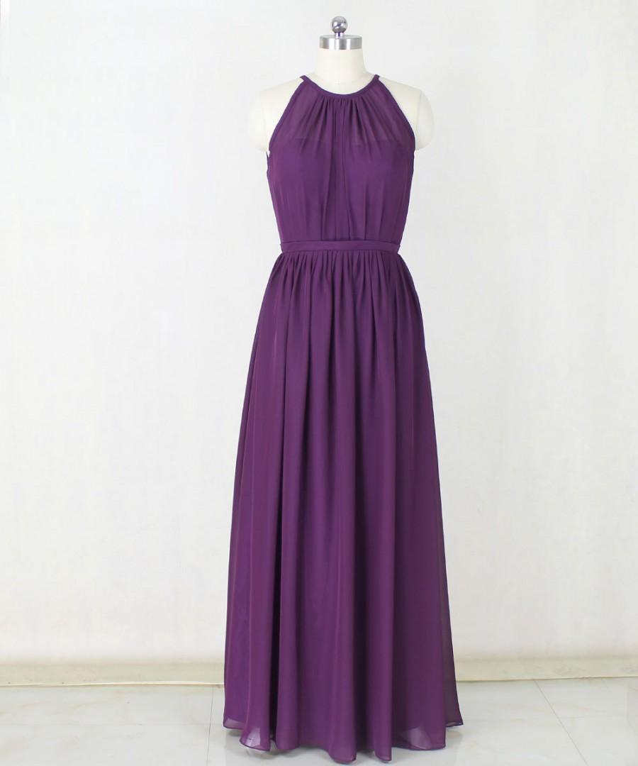 Wedding - Long Bridesmaid Chiffon Dress,Purple Bridesmaid Dresses,Long Prom Dress