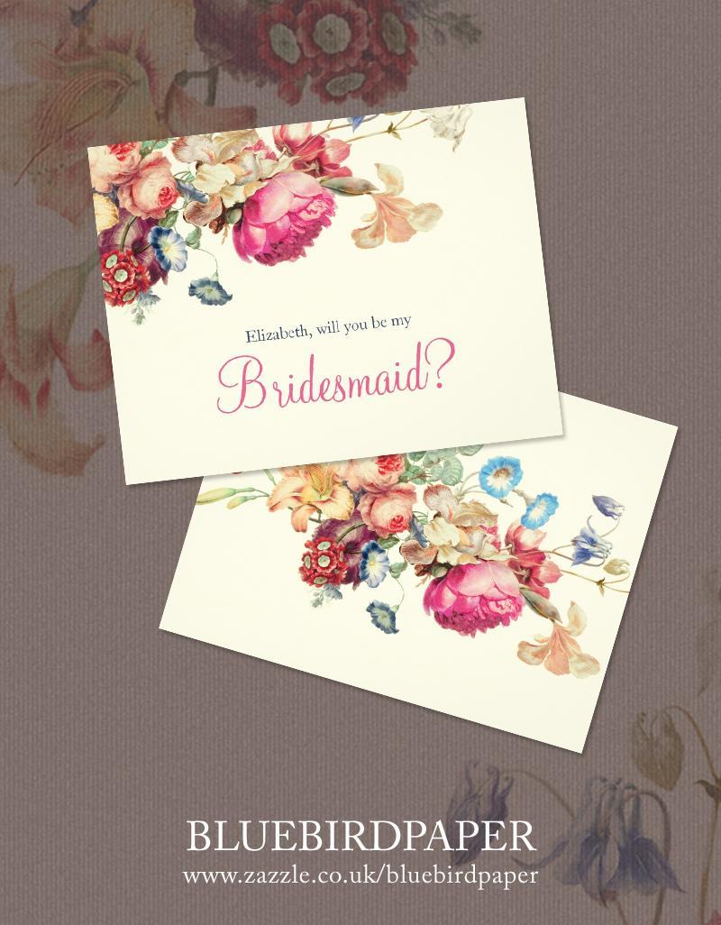 "Wedding - Custom floral ""will you be my Bridesmaid"" card"