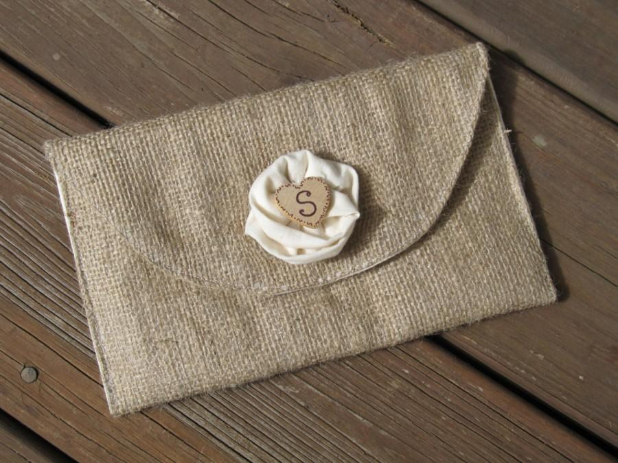 Wedding - Personalized Burlap Clutch Purse with Muslin Rose - Bridal Party Accessory