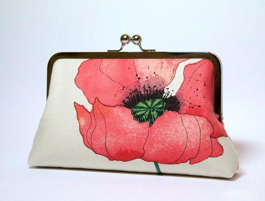 زفاف - Romantic Poppy in Raspberry-red , Bridesmaid Clutch (choose your clutch and color) With Silk Lining, Wedding clutch