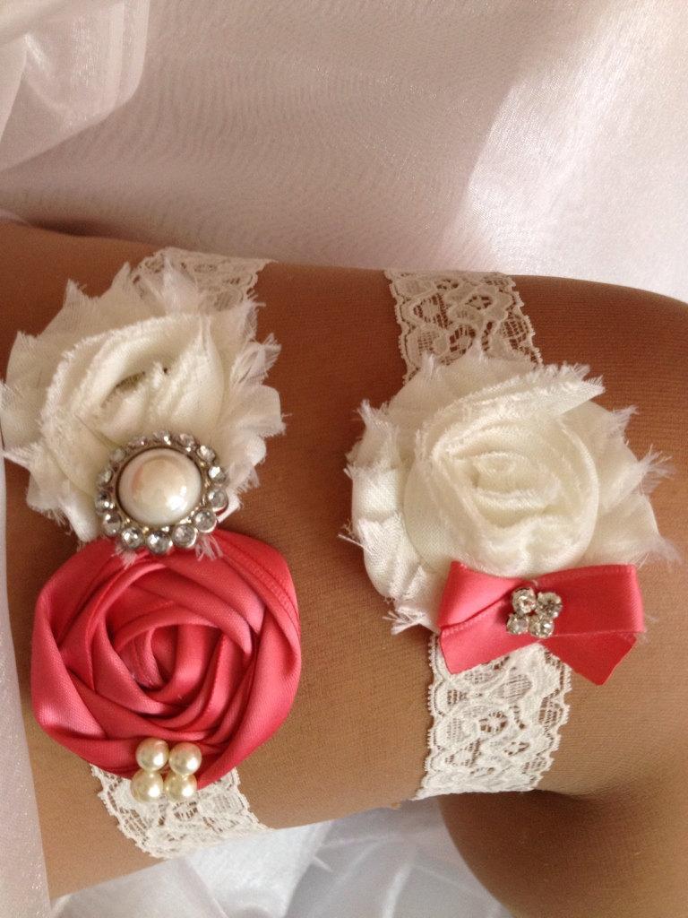 Свадьба - Pink Coral Wedding Garter Set-Coral and Ivory Garter Set Rhinestone Detail...