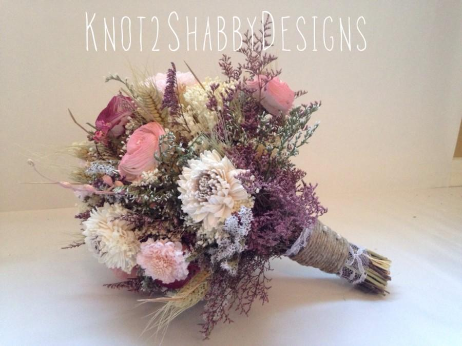 Свадьба - Wedding - Dried Bridal Party Bouquets - Dried flowers - shabby chic wedding - - bridal party - bridesmaid bouquet - sola flower - fall -