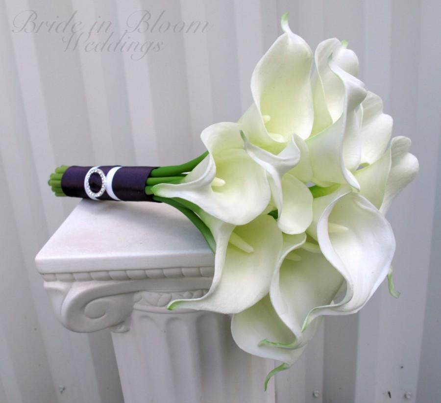 Mariage - Calla lily Wedding bouquet white real touch bridal bouquet