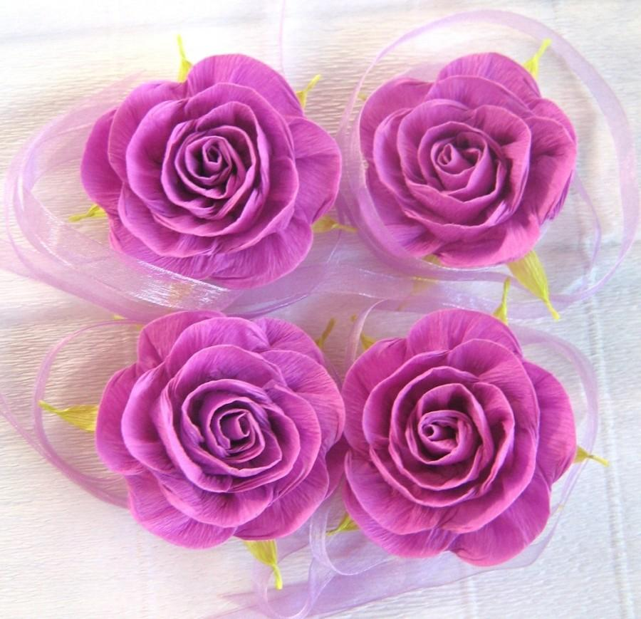 Свадьба - Purpl lavander lilac paper rose wrist  Prom Flower Baby Shower Corsage bridal corsage cuff bracelet  flower girl bracelet  Wedding Flower