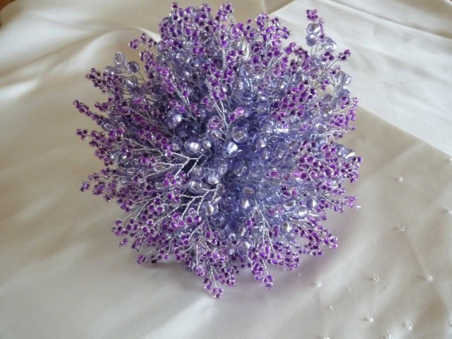 Lavender And Purple Wedding Bouquet With Silver Stems Ribbon Handtied Bridal Brides