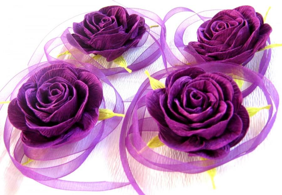Wedding - Purpl rose corsage Prom Flowers Baby Shower Corsage bridal corsage cuff bracelet wrist corsage flower girl bracelet Purple Wedding Flowers