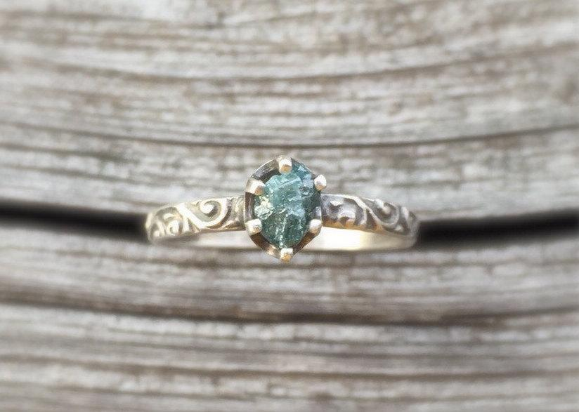 Raw Blue Diamond Engagement Ring With Patterned Silver Band Unique Handmade Non Traditional Natural