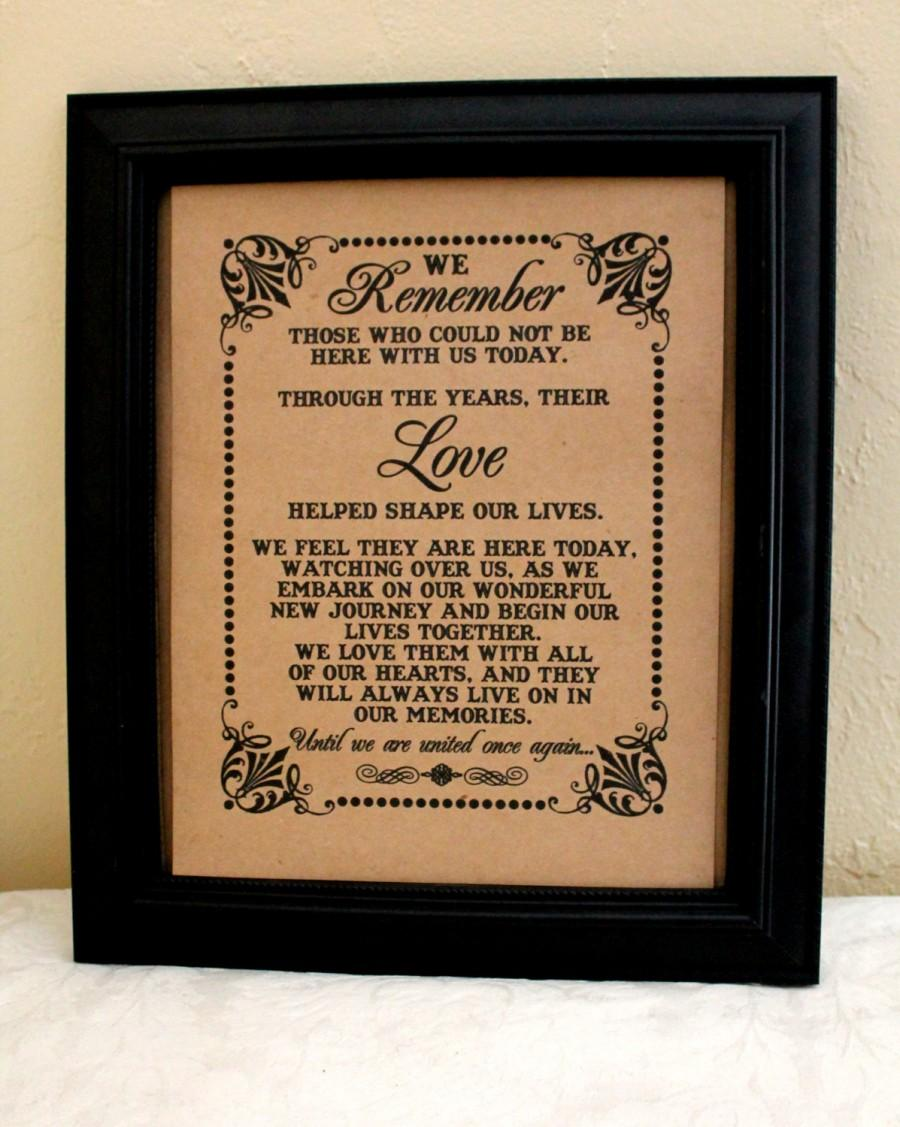 8 X 10 Sign We Remember Those Loved Ones Remembrance In Memory Of Wedding Single Sheet Style