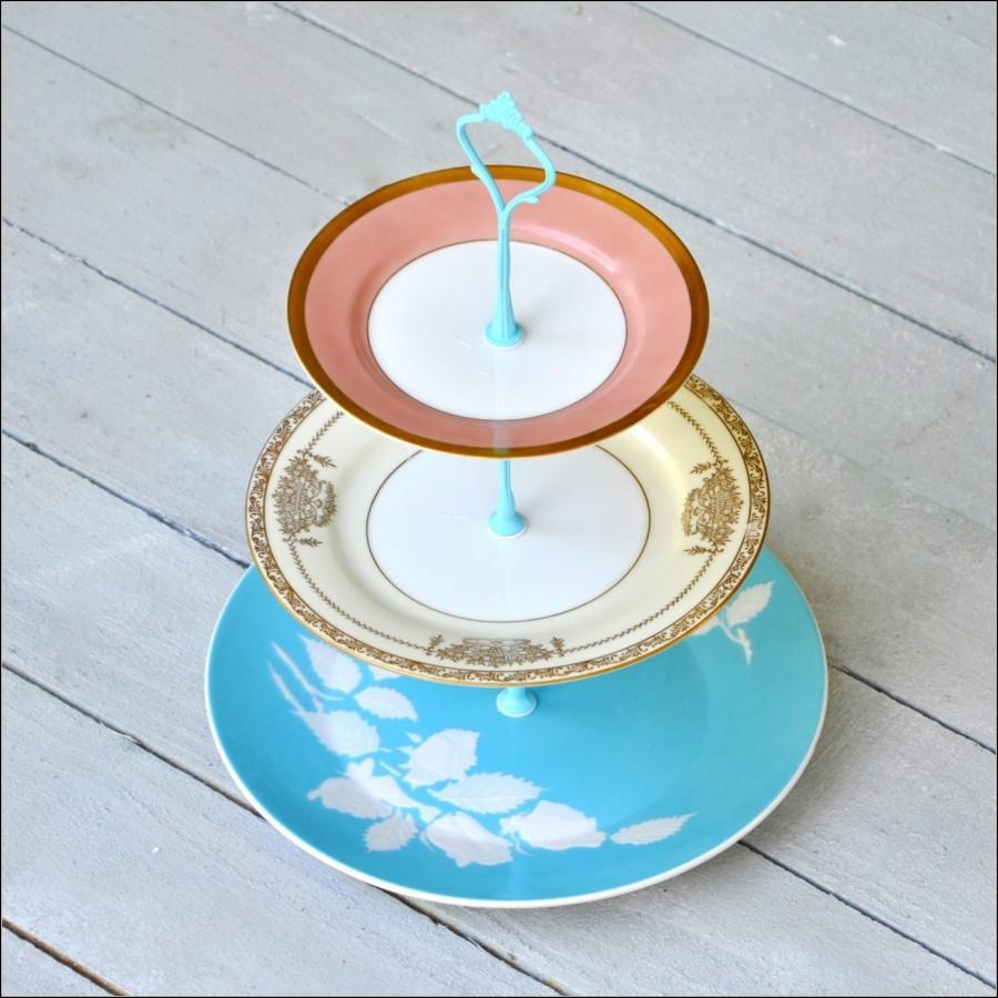 Свадьба - Chrysalis: 3 Tier Cake Stand, Vintage Cake Stand, Mid Century China Serveware
