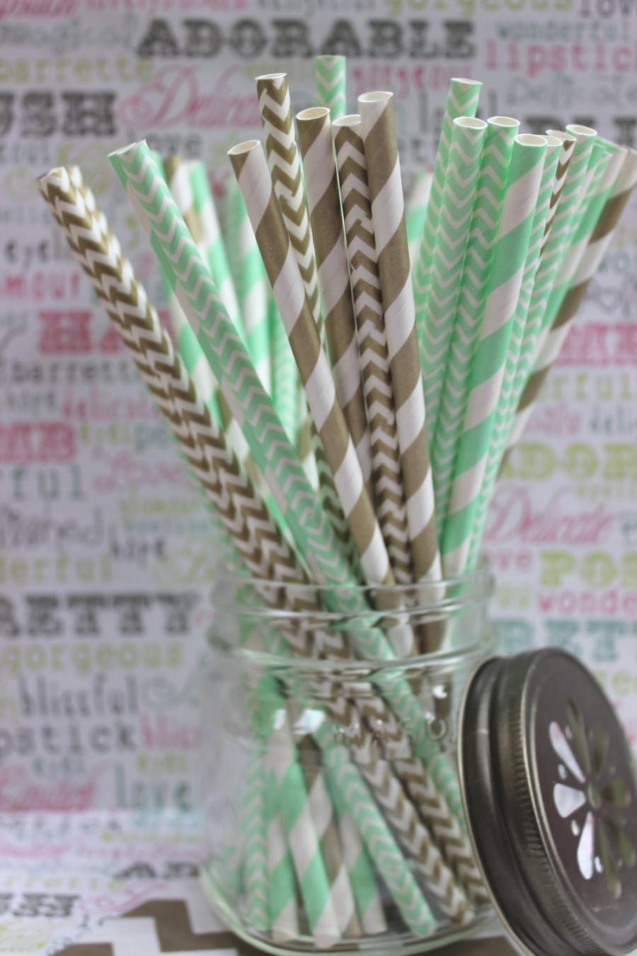 زفاف - 100 Mint Green and Gold Straws in Stripes and Chevron Combo, 25 ea. design, Mint Green and Gold Wedding Straws - Printable DIY Flags