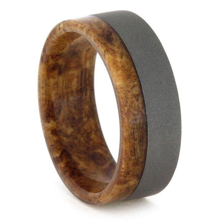 titanium and wood ring spalted maple wood inner sleeve mens wedding band