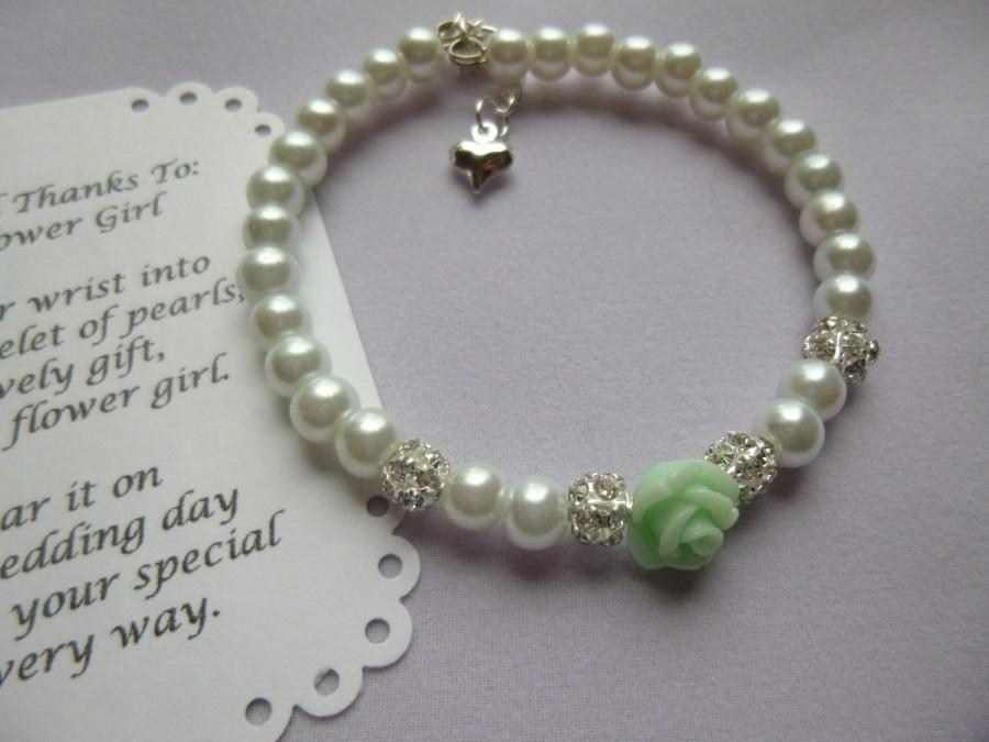Mariage - Pearl Flower Girl Bracelet, Pearl Childs Bracelet, Pearl Kids Bracelet, Pearl Childrens Bracelet, Pearl Girls Bracelet, Flower Girl Jewelry