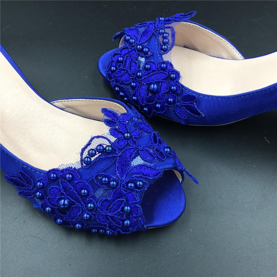 Full Sizes Royalblue Peep Toe Ladies Wedding Shoes Cobalt Lace Flowers Brides