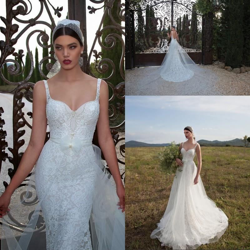 Hochzeit - 2016 New Arrival Exquisite Mermaid Berta Wedding Dresses with Detachable Train Custom Made Backless Lace Bridal Gowns Online with $140.63/Piece on Hjklp88's Store