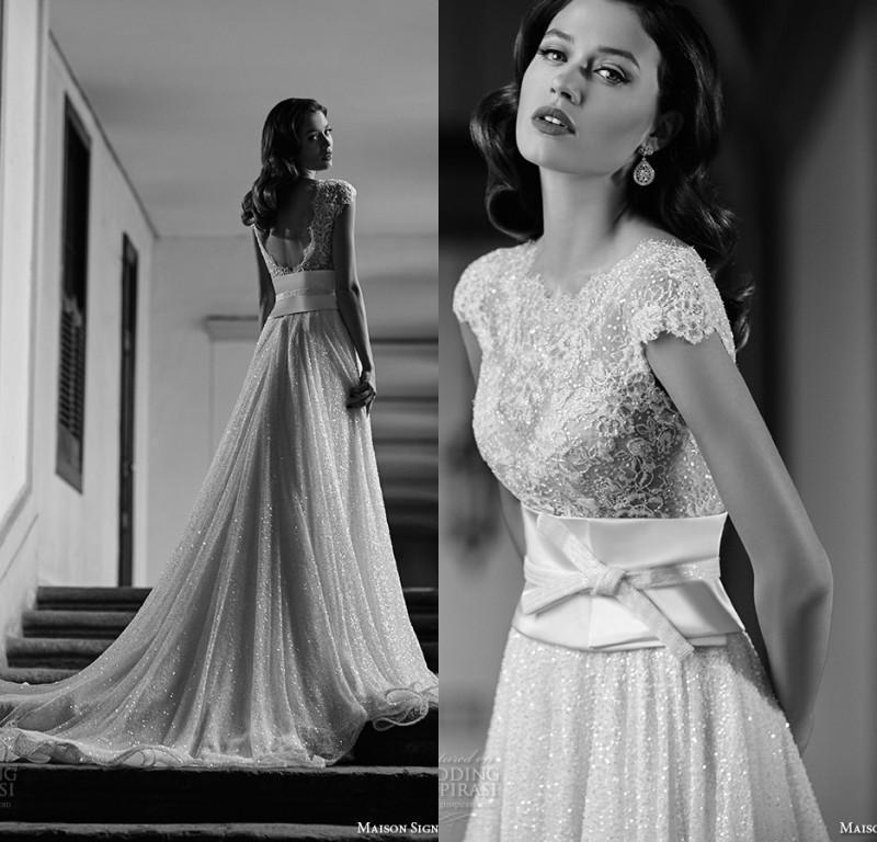 زفاف - 2016 Berta Wedding Dresses Backless Bridal Gowns Cap Sleeves Train Arabic Vestidos De Novia Court Train Sequined 2015 Custom Made Online with $135.29/Piece on Hjklp88's Store