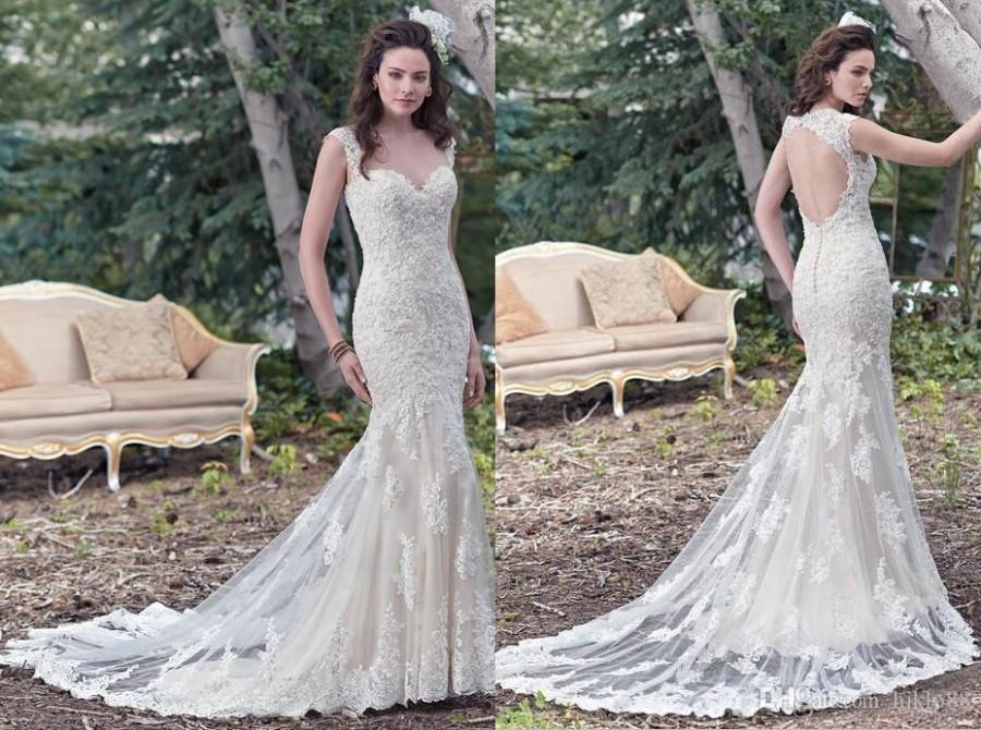 cccadccfaaef New 2016 Sweetheart Backless Sheath Wedding Dresses Applique Beaded Keyhole Bridal  Gowns Mermaid Lace Wedding Dress Collins Button Zipper Online with ...