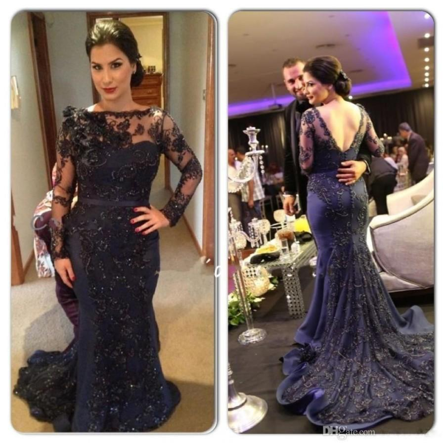 c21e9786c7 2016 New Long Sleeve Mermaid Evening Dresses Bateau Neck Navy Blue Lace  Beaded Party Arabic Dubai Sheer Long Court Train Prom Gowns Bo8853 Online  with ...