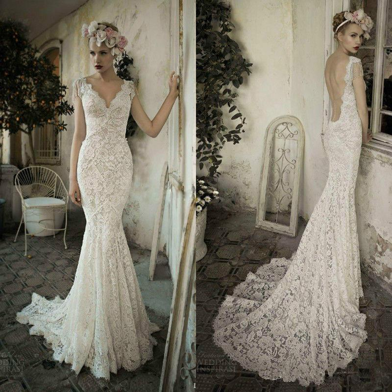 100% Real Picture Mermaid Lace Wedding Dresses Backless V Neck Cap ...
