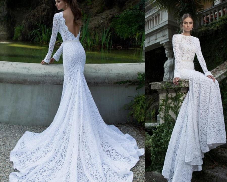 2016 Berta Lace Backless Wedding Dresses With Long Sleeves Crew Neck Court Train Bridal Gowns Mermaid Galia Lahav Online