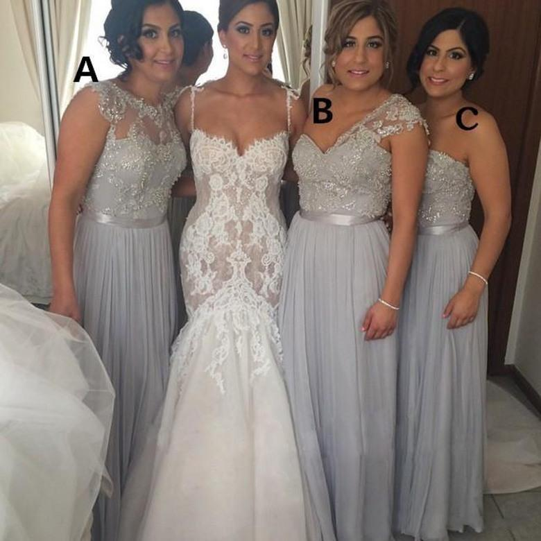 Silver Chiffon Long Bridesmaid Dresses A Line Beaded Lace Lique Mixed Styles Maid Of Honor Summer Beach Bo8543 Online With