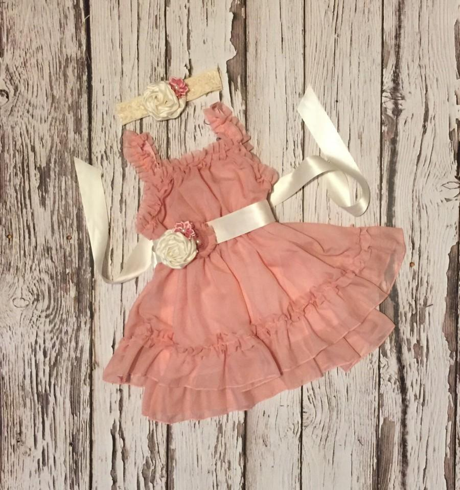 Dusty Pink Flower Girl Dress Flower Girl Dress Birthday Outfit