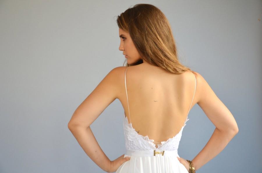 Mariage - Lace wedding dress, lace train dress,beaded embroidery and lace wedding dress,chiffon wedding dress