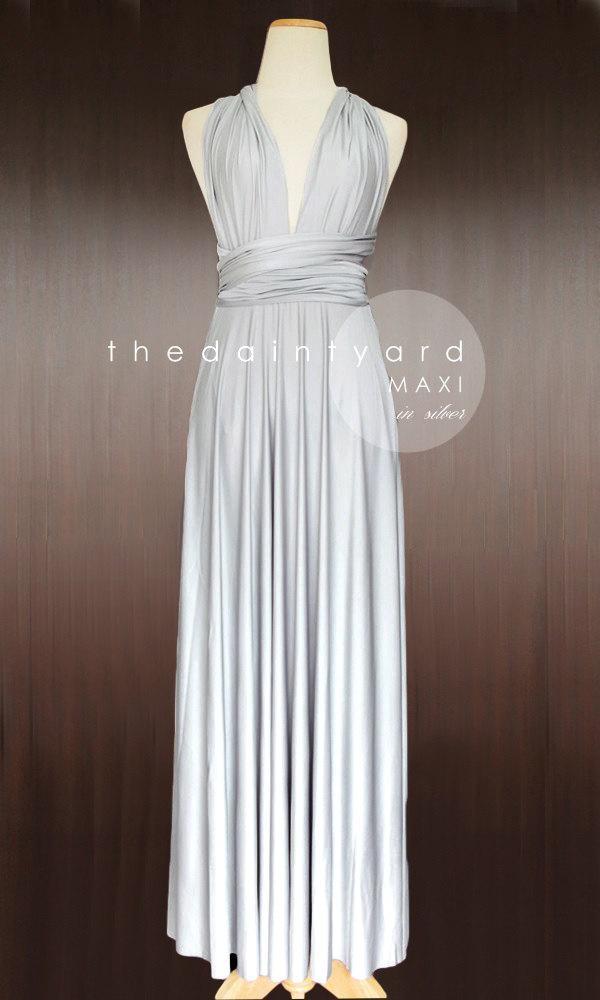 Свадьба - MAXI Silver Bridesmaid Dress Convertible Dress Infinity Dress Multiway Dress Wrap Dress Wedding Dress Full Length Prom Dress Maxi Dress