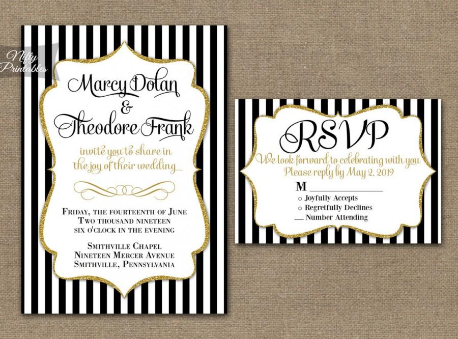 black gold wedding invitations printable black white stripe gold