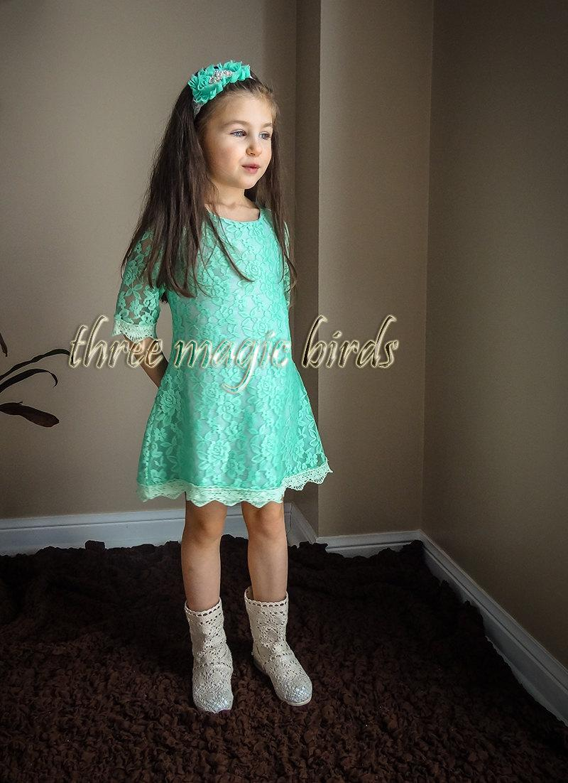 Flower Girl MINT Dress Destination Wedding Communion Rustic Aqua 3/4 ...