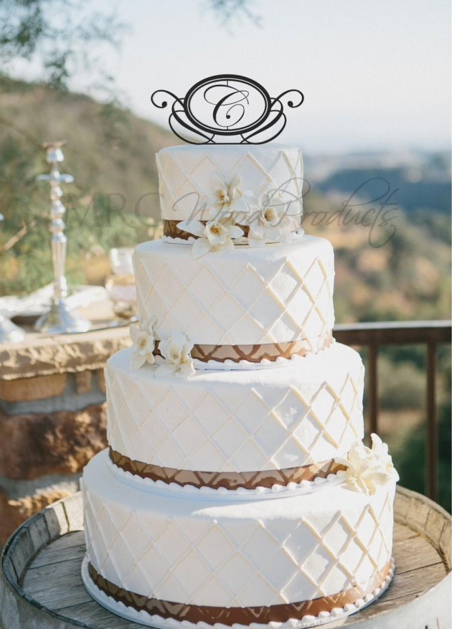 Hochzeit - Wedding Cake Topper Personalized Circle Monogram Cake Topper