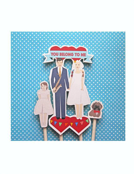 Wedding - Custom Wedding Cake Topper- Family Topper Flag Banner Tattoos Personalized Dogs Daughter Kids Children Marquee Topper