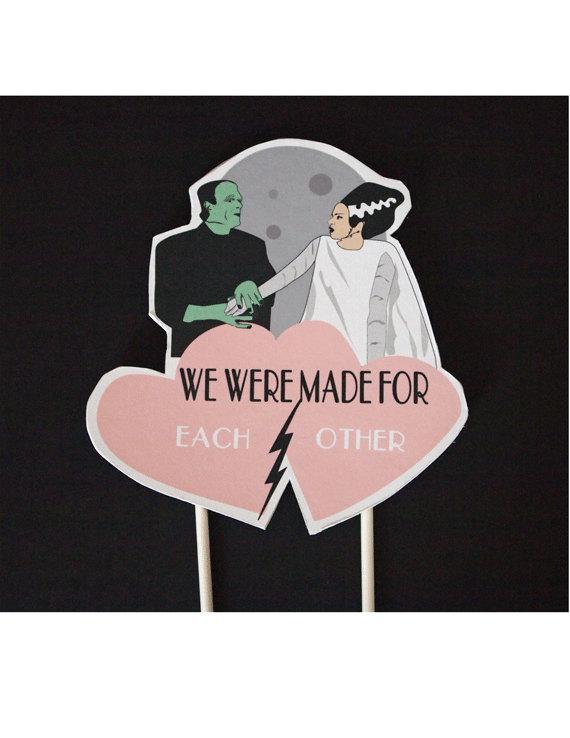 Свадьба - Wedding Cake Frankenstein Bride of Frankenstein Topper Valentines day Wedding Horror Monster Love