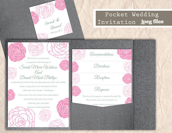 Свадьба - Printable Pocket Wedding Invitation Suite Printable Invitation Floral Rose Invitation Pink Invitation Download Invitation Edited jpeg file