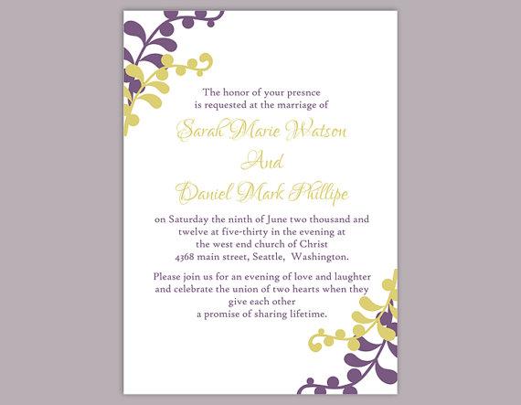 Wedding - DIY Wedding Invitation Template Editable Word File Instant Download Elegant Eggplant Wedding Invitation Printable Green Wedding Invitations