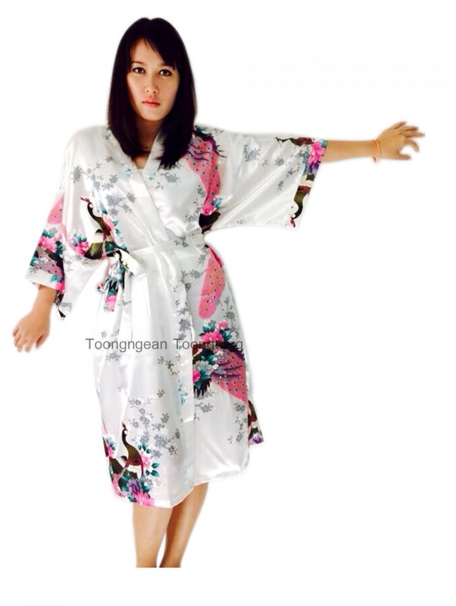 On Sale Kimono Robes Bridesmaids Silk Satin White Colour Paint ...