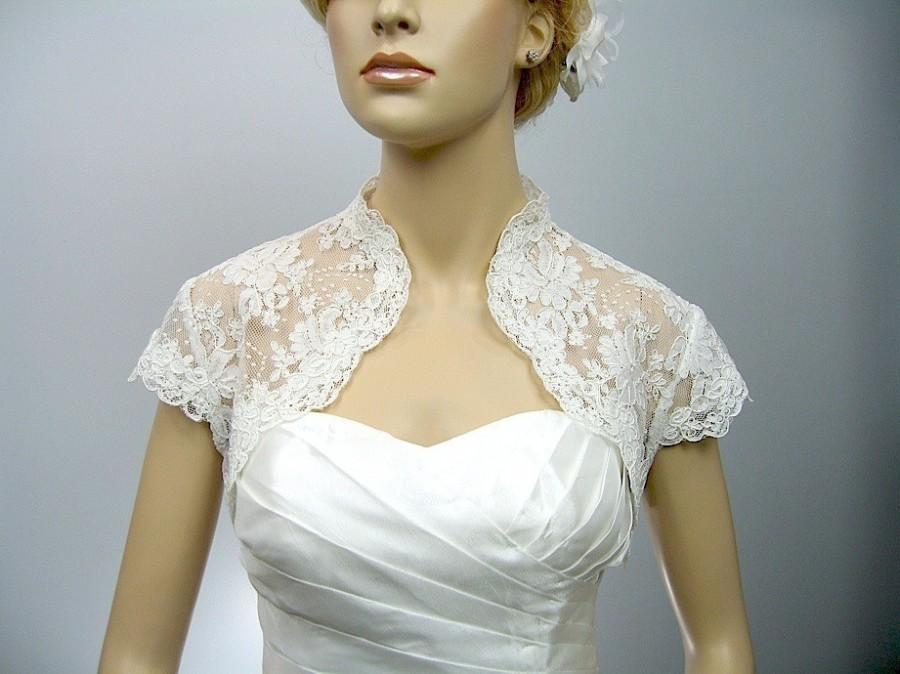 Ivory Cap Sleeve Bridal Shrug Alencon Lace Bolero Wedding Bolero