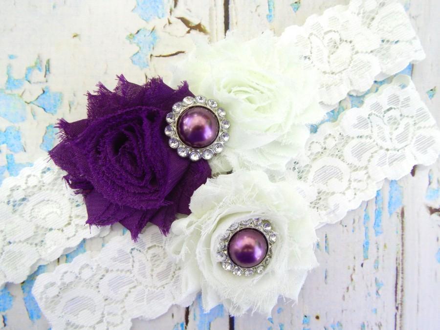Wedding - PURPLE GARTER Set / Wedding Garter Set / Dark Purple Garter Set / Bridal Garter / Vintage Garter / Toss garter / Lace Garter