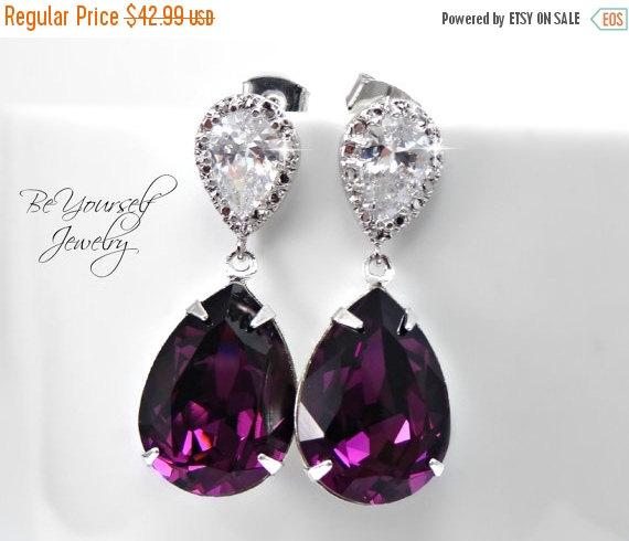 On Amethyst Bridal Earrings Plum Wedding Jewelry Dark Purple Bride Swarovski Bridesmaid February Bir