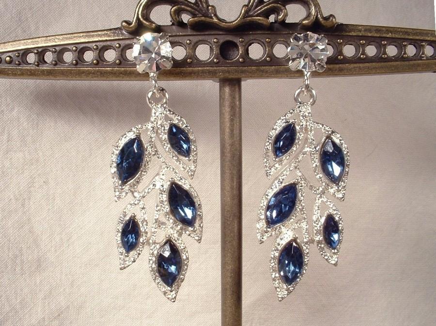 Wedding - Art Deco Sapphire Earrings, Rhinestone Leaf Navy Blue Bridal Dangle Earrings Silver Drop Flapper Earrings 1920 Gatsby Wedding Vintage