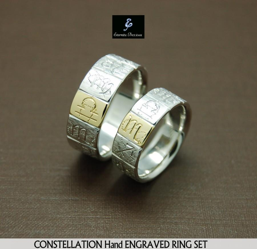 Свадьба - Constellation couples ring , Star ring sets in yellow Gold , Gift idea for birthday, Anniversary band sets, Personalized gift
