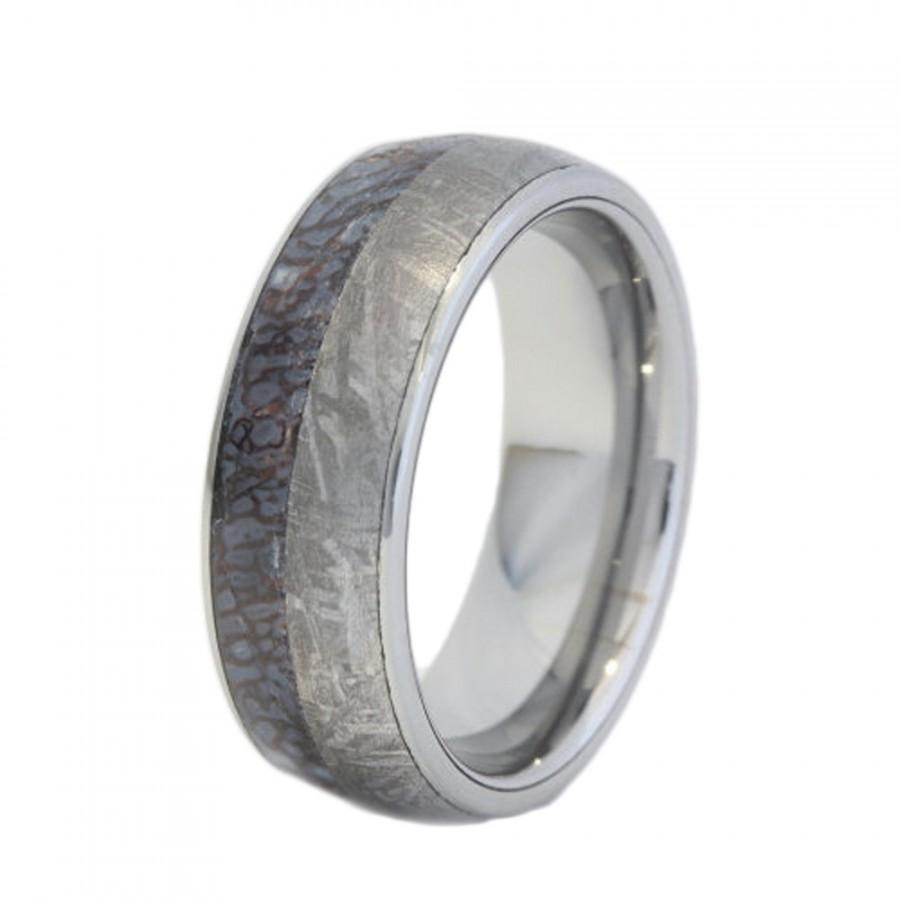 زفاف - Tungsten Ring with a Dinosaur Bone and Meteorite Inlay