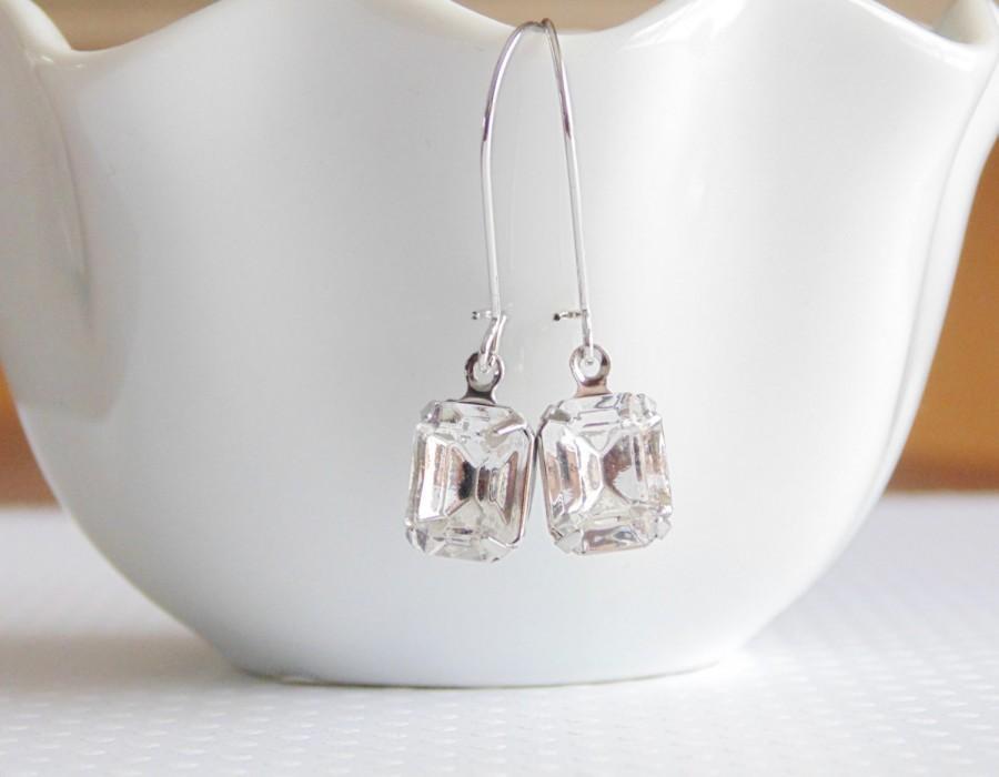 Wedding - Crystal bridal earrings Vintage bridal earrings Crystal earrings Clear glass earrings Bridesmaid earrings Bridal earrings Dangle earrings