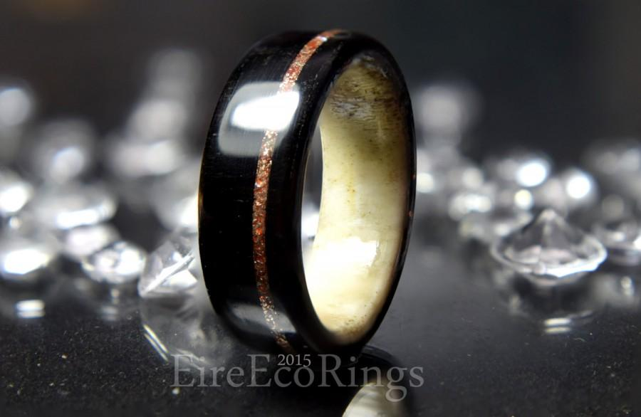 deer antler wedding ring with bog oak wood - Deer Antler Wedding Rings