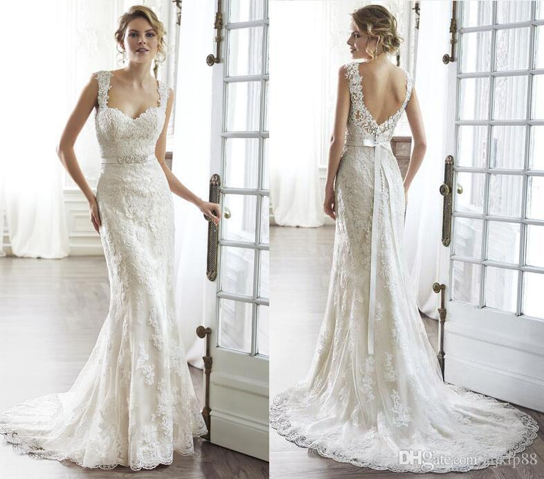 New 2016 Sweetheart Backless Sheath Wedding Dresses Lique Beaded Bridal Gowns Mermaid Illusion Lace Dress Pia On Zipper Online With