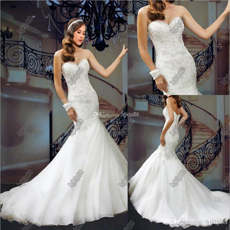 2014 Wedding Dresses Organza Sweetheart Floor Length Beaded Pearls ...