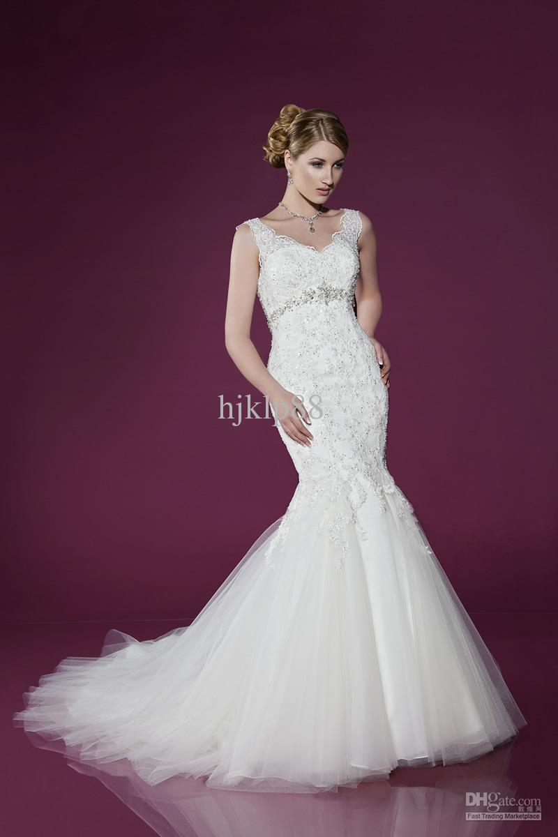 2014 new v neck beaded lace shoulder straps button covered mermaid 2014 new v neck beaded lace shoulder straps button covered mermaid tulle wedding dresses bridal dress big mermaid wedding dresses designer mermaid style ombrellifo Choice Image